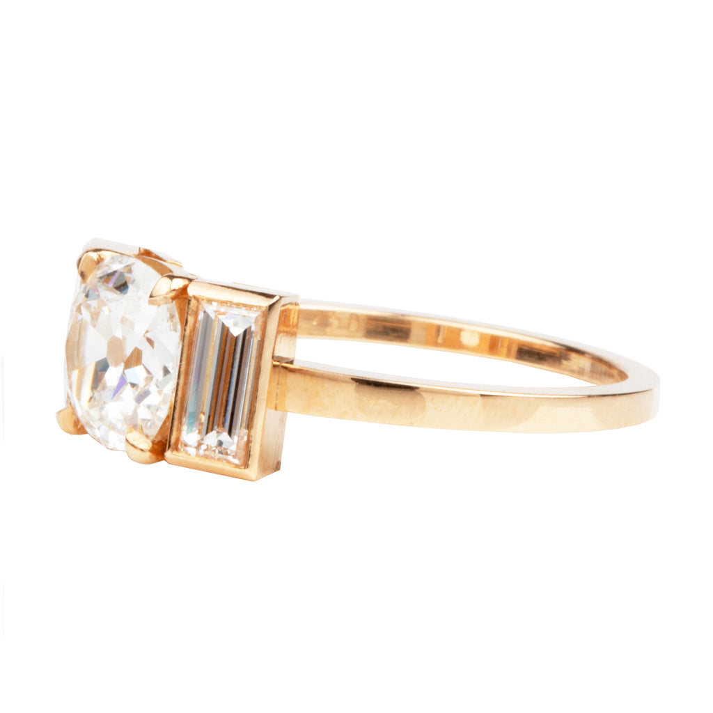 Three Stone Old Mine Cut Diamond Ring with Vertical Baguettes