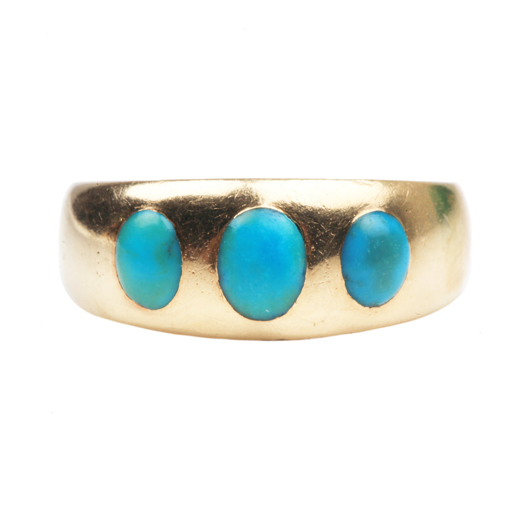 Victorian Era Three Stone Turquoise Ring