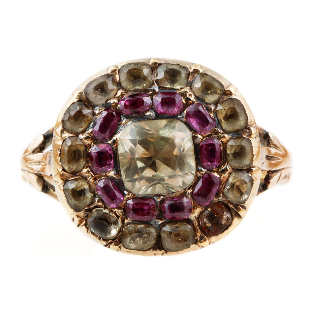 Georgian Era Chrysolite and Ruby Cluster Ring