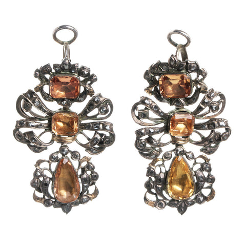 18th Century Iberian Pendeloque Topaz and Diamond Earrings