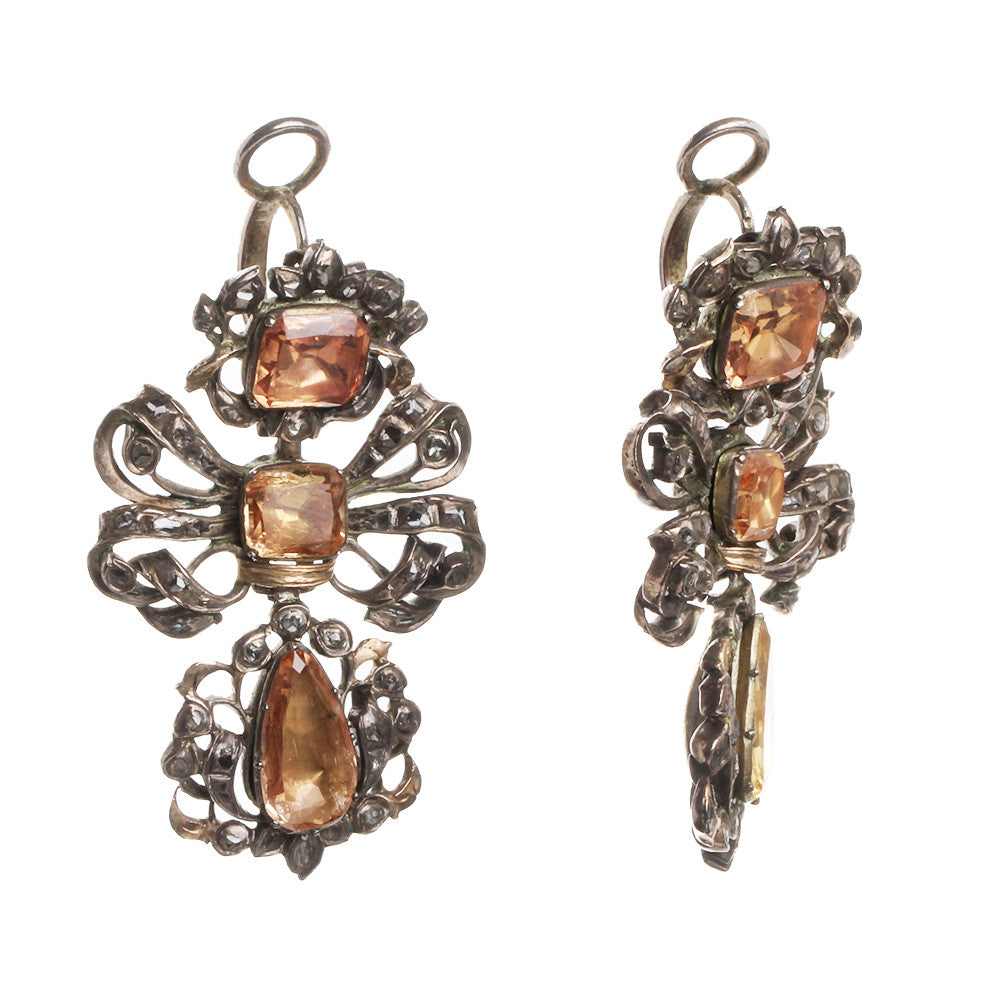 18th Century Topaz and Diamond Pendeloque Earrings