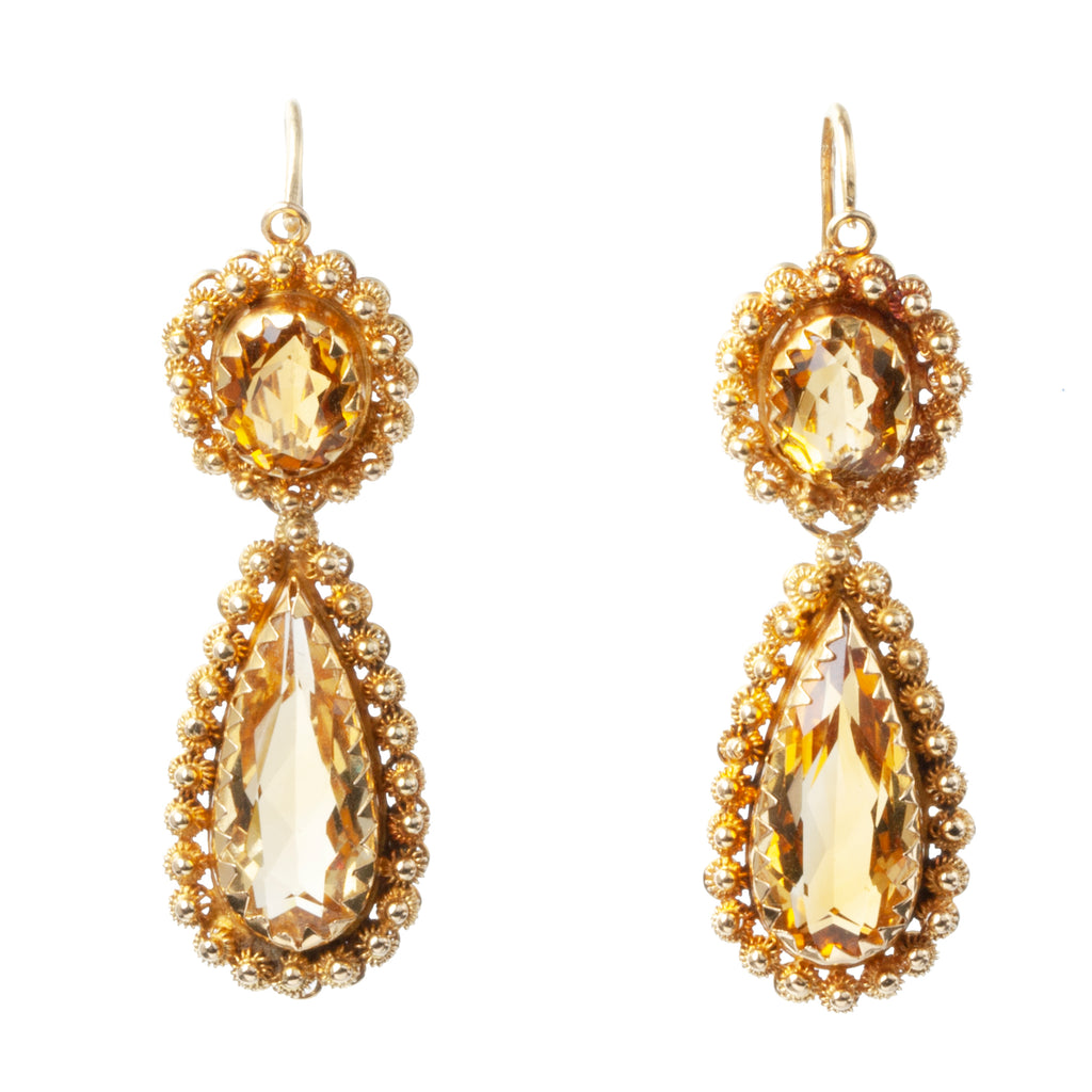 Victorian Era Citrine Cannetille Earrings