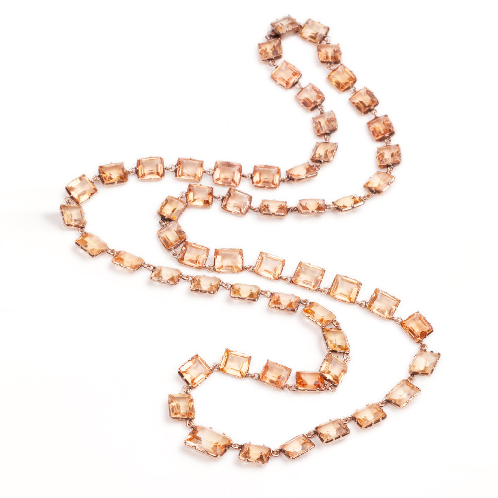 Victorian Topaz Paste Long Necklace