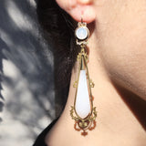 Victorian Chalcedony Torpedo Earrings
