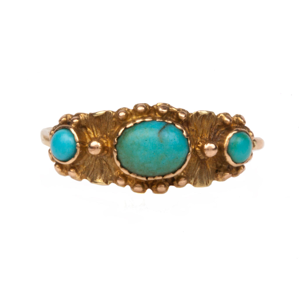 Georgian Era Turquoise Three Stone Ring