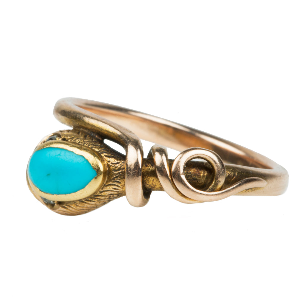 Early Victorian Era Turquoise Snake Ring