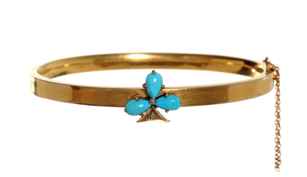 Gold Napoleon III Period French Turquoise Trefoil Bangle