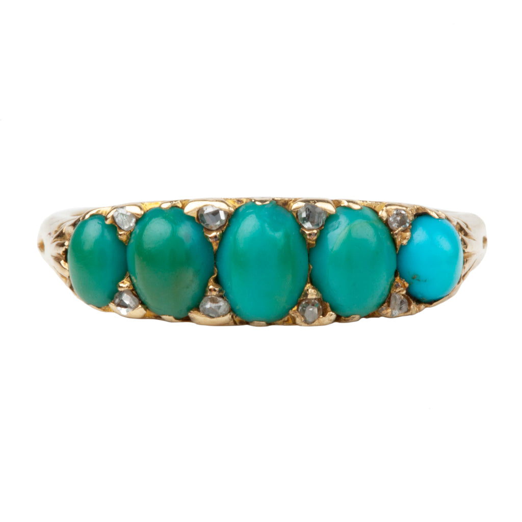 Victorian 5 Stone Turquoise Ring