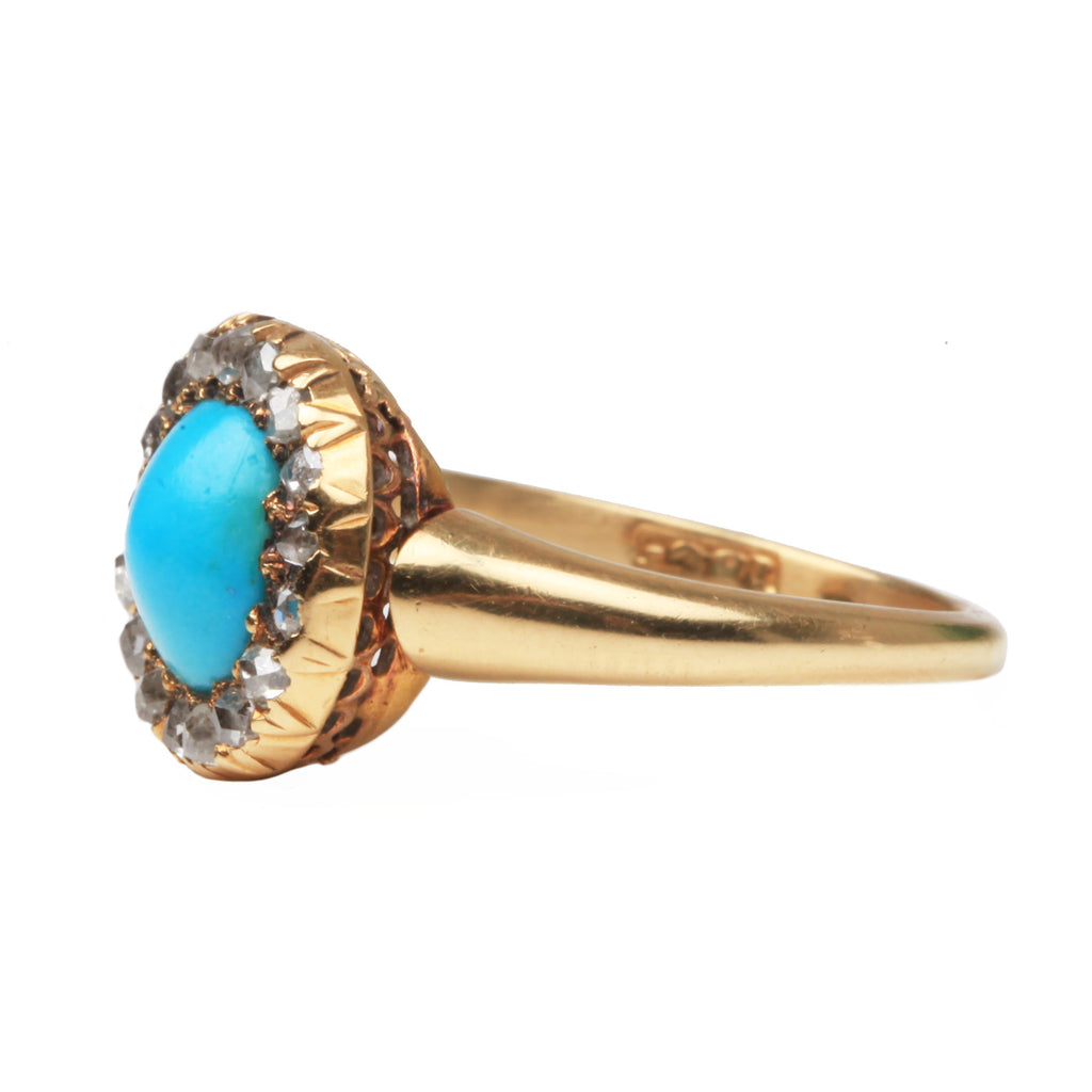 Victorian Era Gold Turquoise and Rose Cut Diamond Cluster Ring