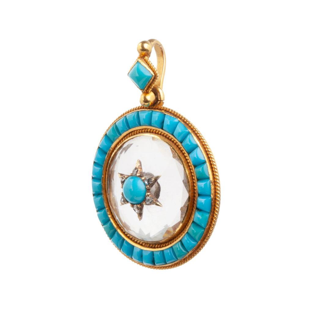 19th century rock crystal, turquoise and diamond Locket