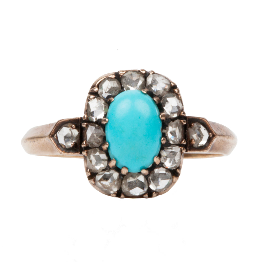 Victorian Era Turquoise and Diamond Cluster Ring