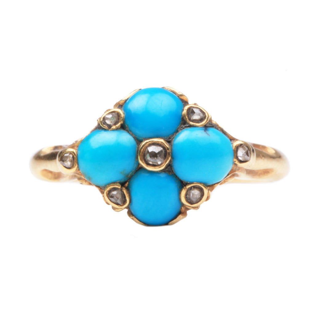 Victorian Turquoise and Diamond Cluster Ring