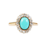 Initial PAYMENT for - Victorian Diamond & Turquoise Cluster Ring