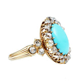 French 19th Century Turquoise & Diamond Cluster Ring