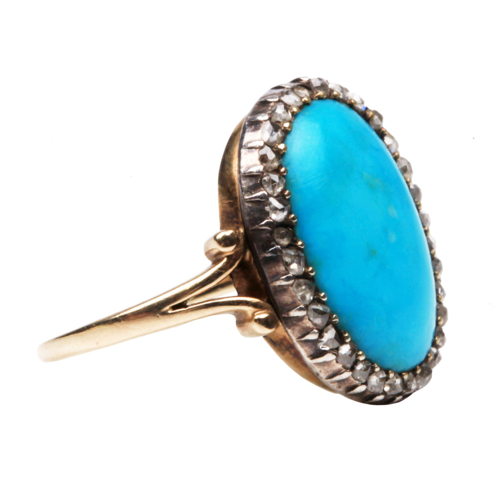 Victorian Turquoise Diamond Cluster Ring