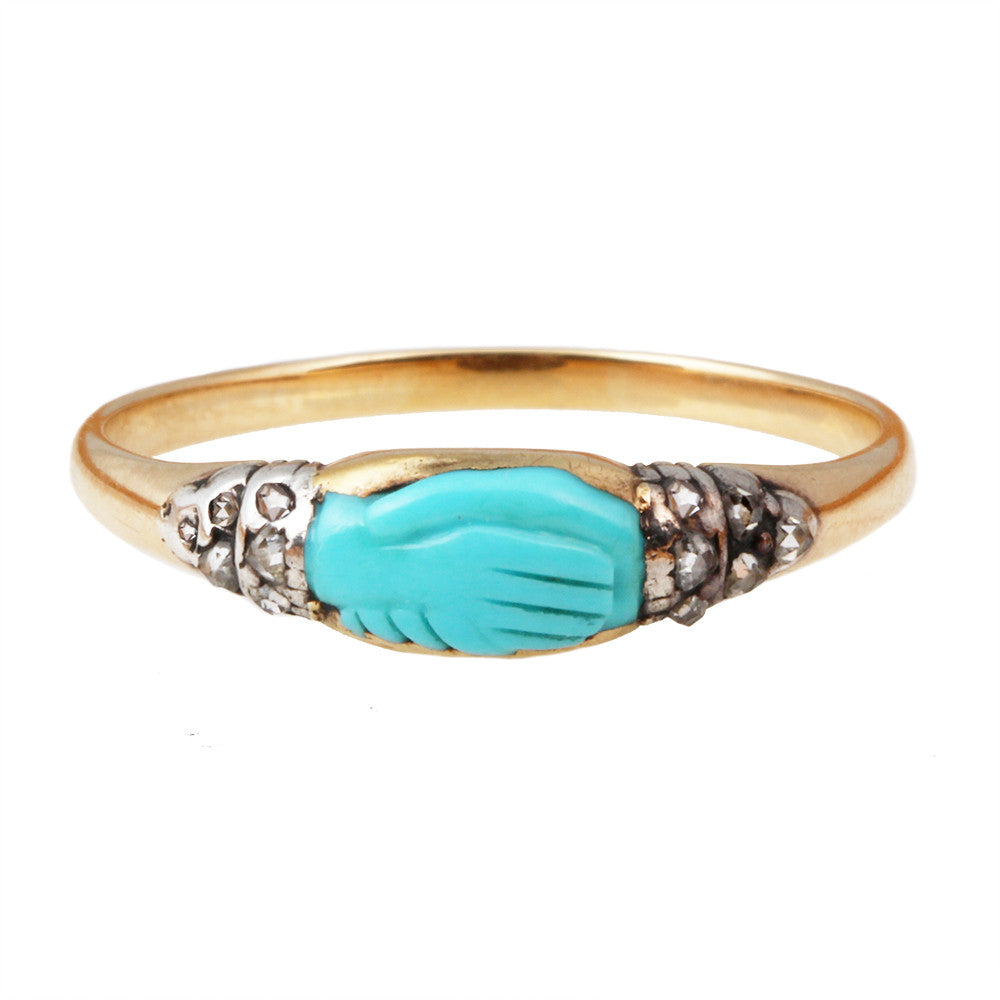 19th Century Turquoise Fede Ring