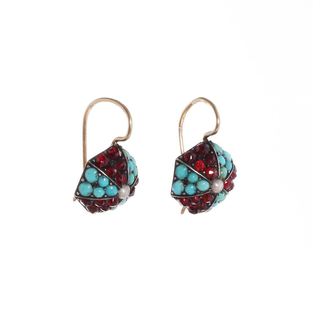 Victorian Era Turquoise & Garnet Earrings