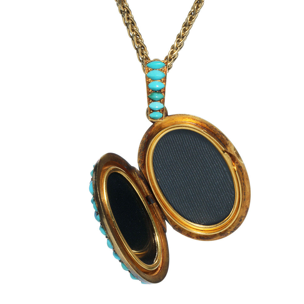 French Turquoise and Diamond Locket