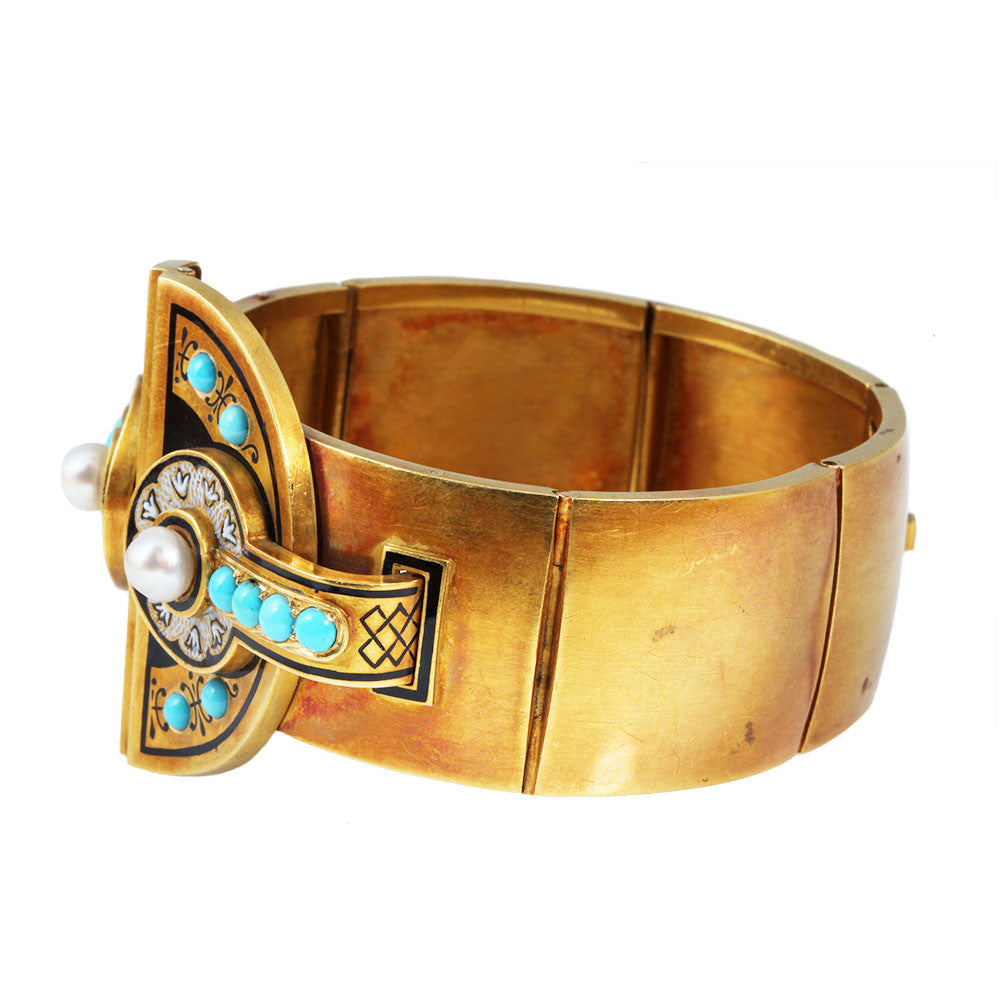 Victorian Era Turquoise and Gold Bangle