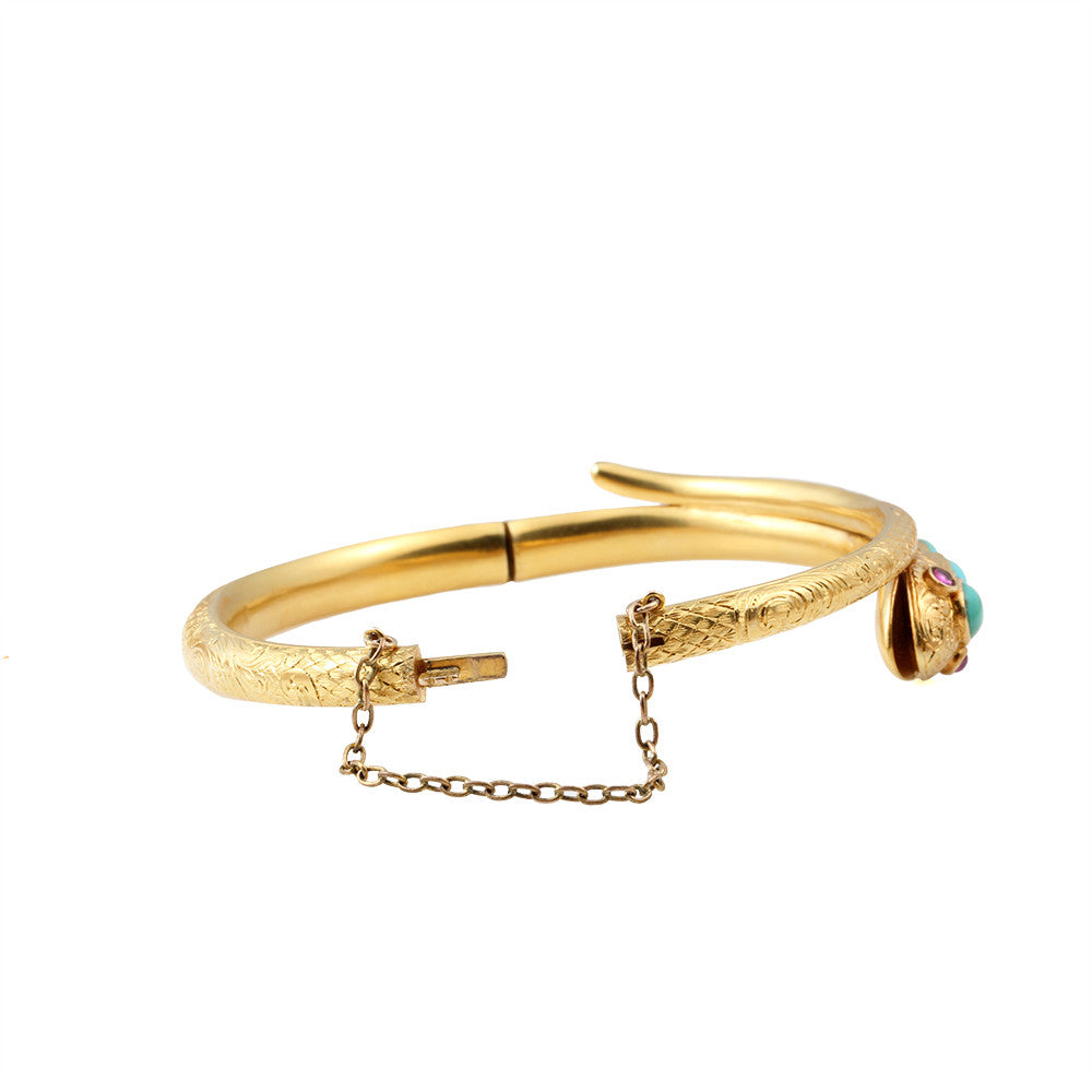 Victorian Gold Snake Bangle with Turquoise & Rubies