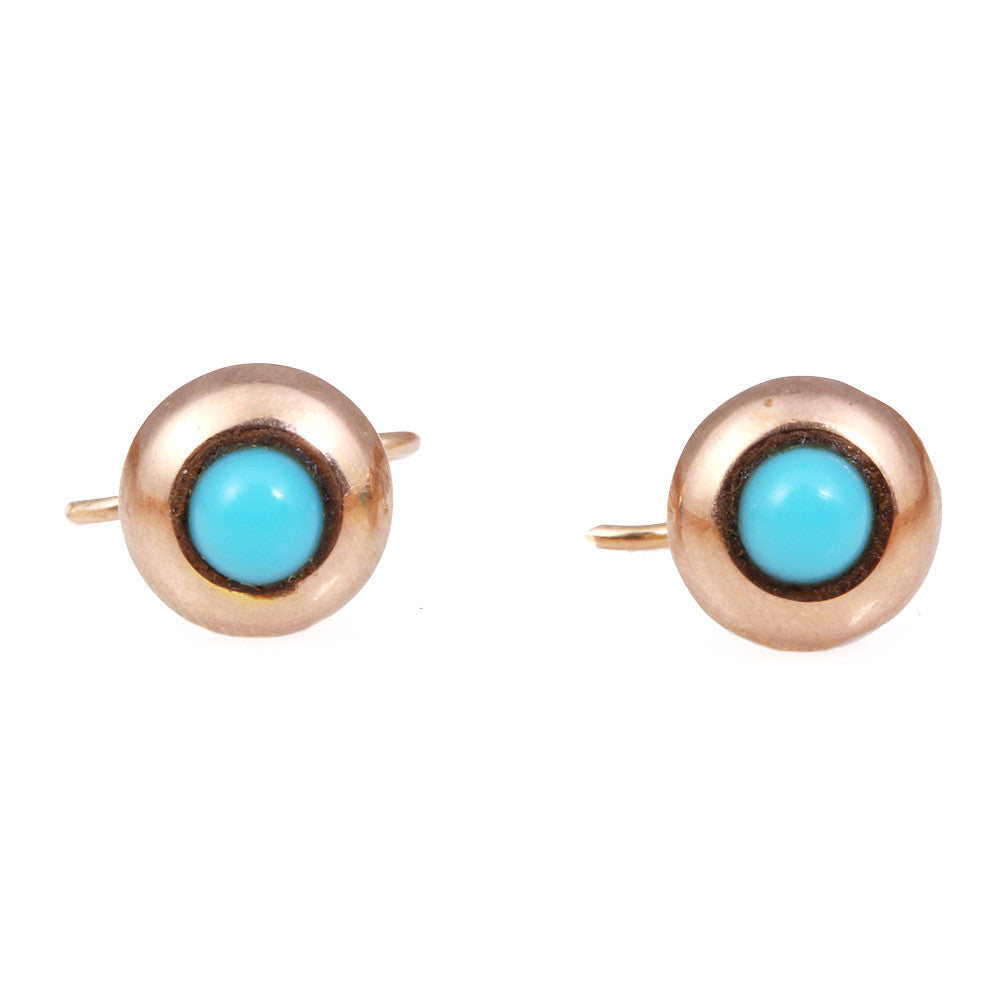 Victorian Turquoise Gold Stud Earrings