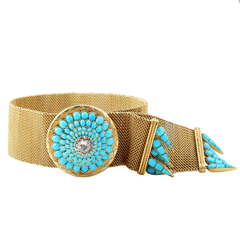 Victorian Era Turquoise and Diamond Woven Gold Bracelet