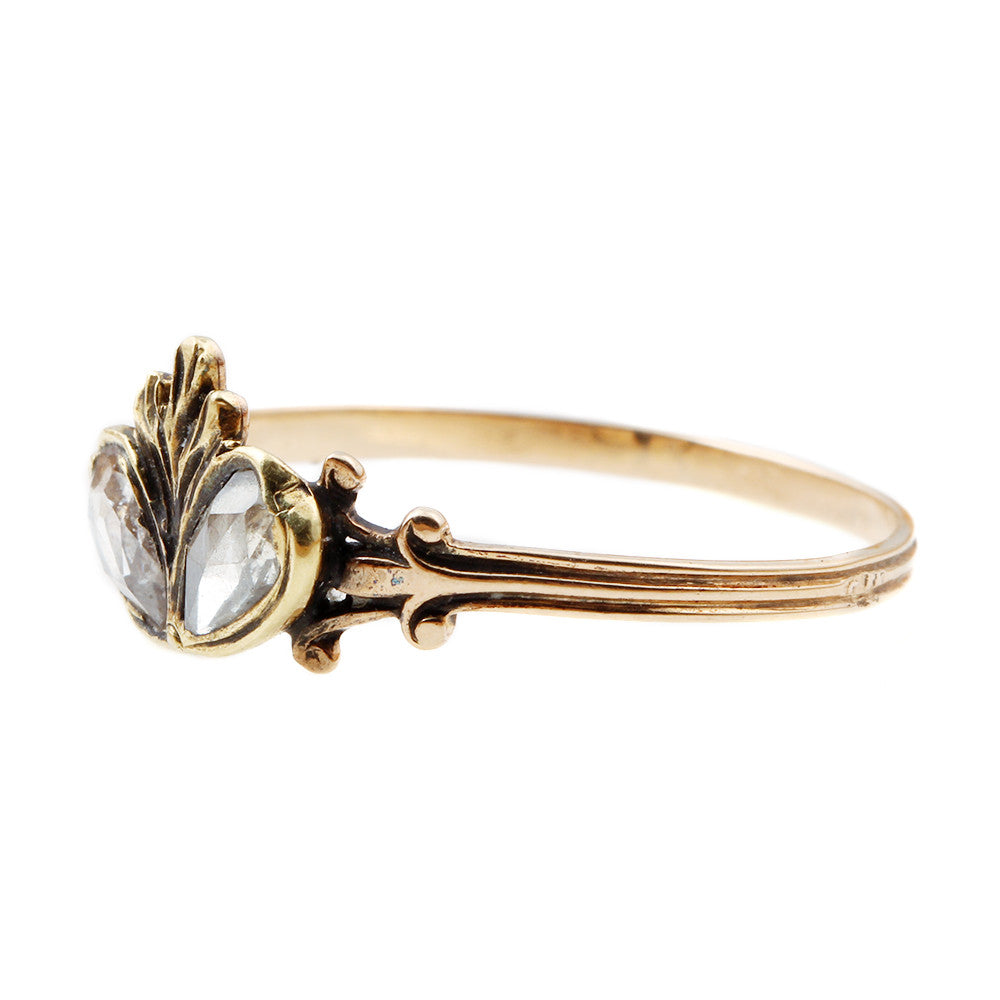 Georgian Era Twin Diamond Heart Ring