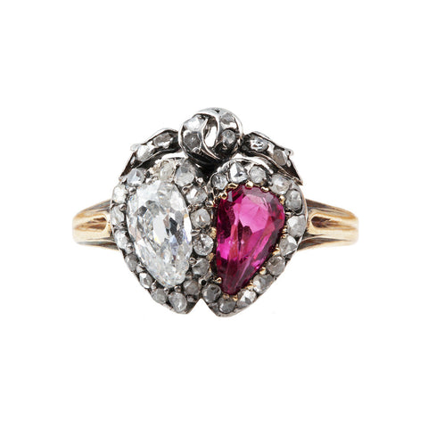 Victorian Era Old Mine Cut Ruby and Diamond Twin Heart Ring