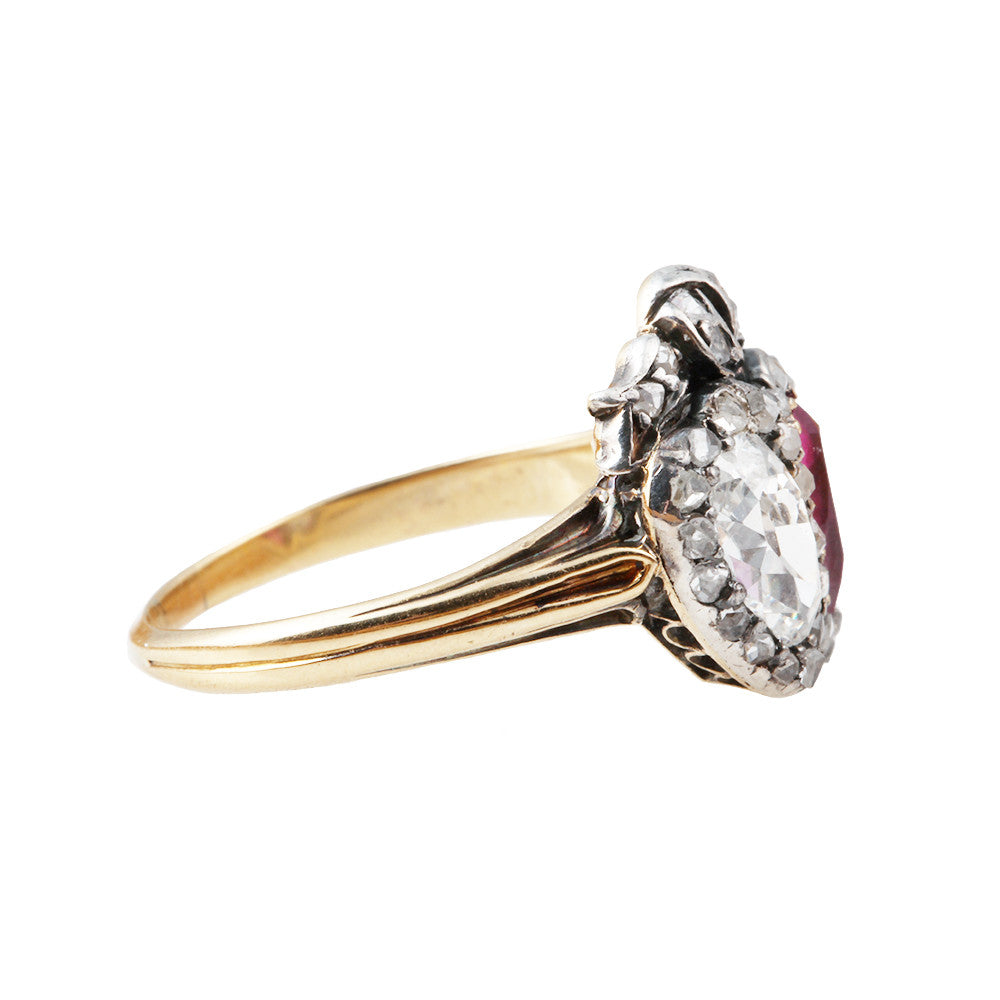 Late 19th Century Era Old Mine Cut Diamond and Ruby Twin Heart Ring