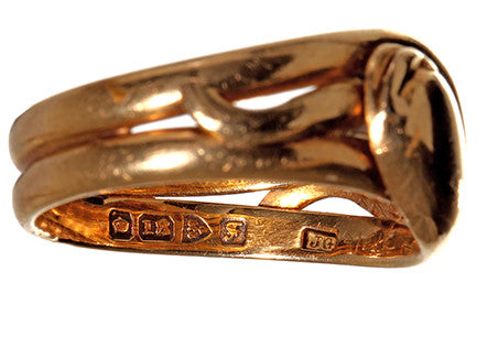 Gold Edwardian Entwined Snake Ring
