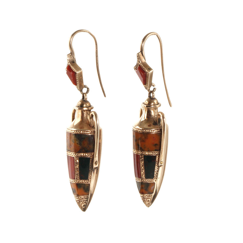 Victorian Scottish Agate Gold Amphora Earrings
