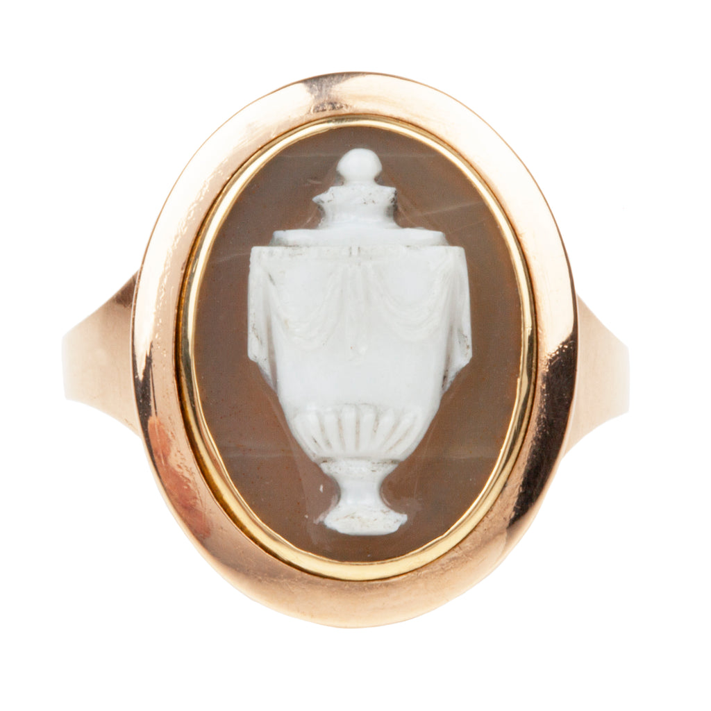 Georgian Era Carved Hardstone Mourning Ring