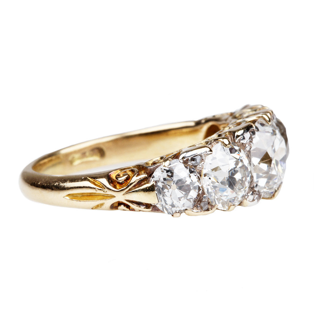 Late Victorian 4 Carat Five Stone Diamond Ring