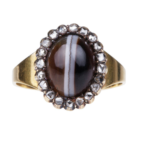 Victorian Agate and Diamond Ring