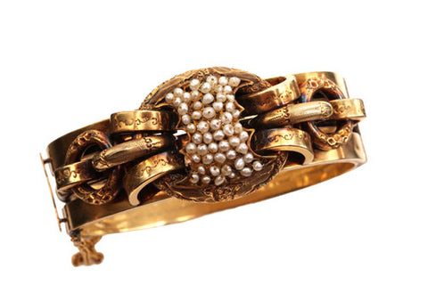 Victorian Gold Bracelet with Natural Pearls