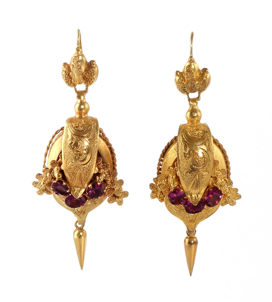 Victorian Pinchbeck Repousse Earrings