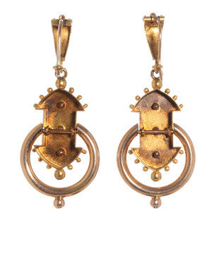 Victorian Gold Studded Earrings