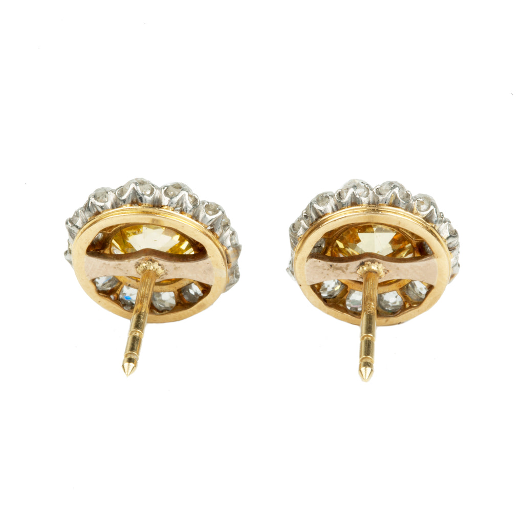 19th Century Yellow Diamond Cluster Earrings