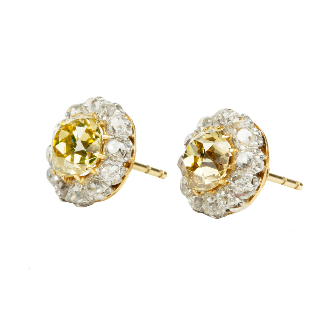 Antique Yellow Old Mine Cut Diamond Cluster Earrings