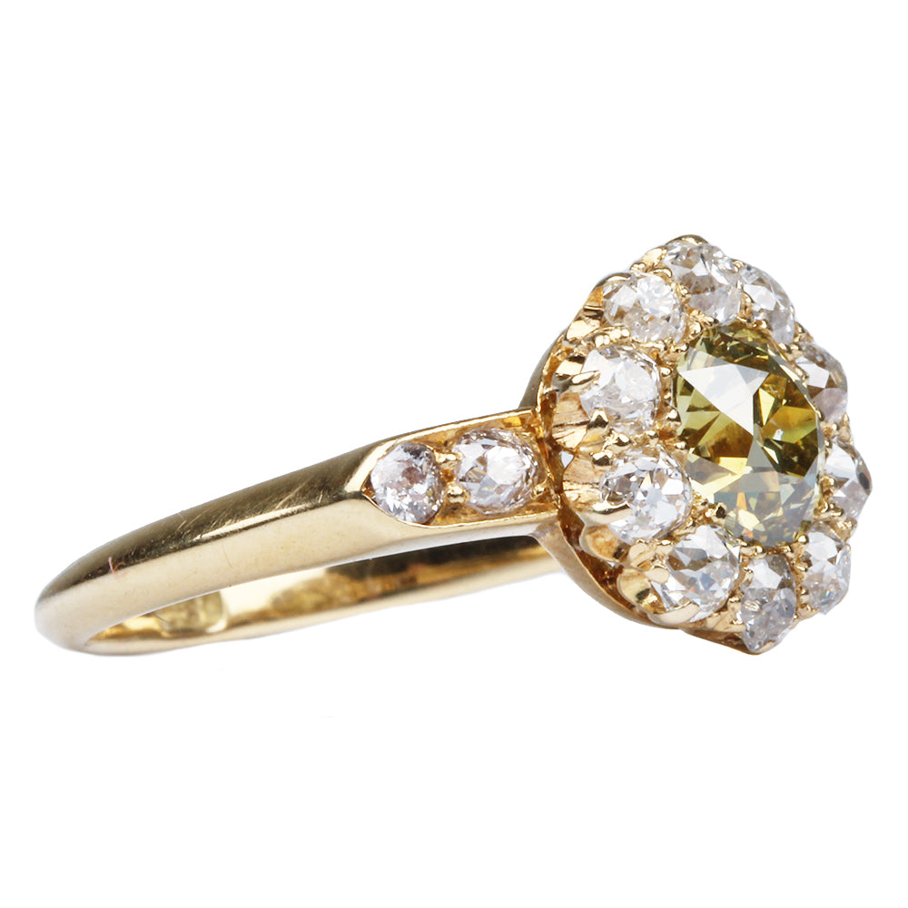 19th Century Yellow Diamond Cluster Ring