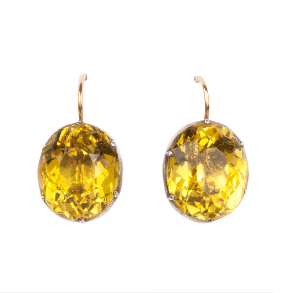 Georgian Yellow Oval Paste Earrings
