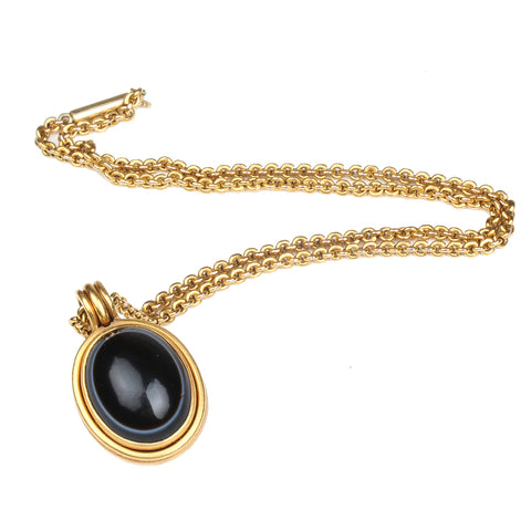 Victorian Agate and Rock Crystal Locket Necklace