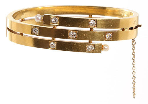 Victorian Gold and Diamond Bangle Bracelet