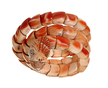 Victorian Carved Conch Shell Snake Bracelet
