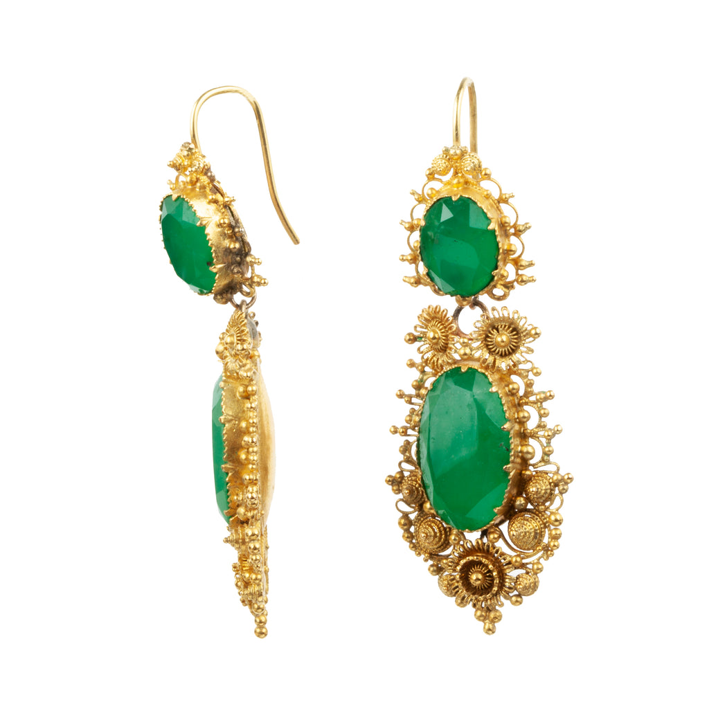 Georgian Era Chrysophase Earrings