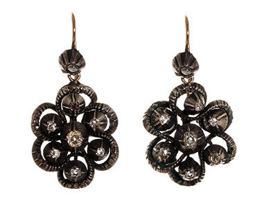 Silver & Gold Diamond Earrings