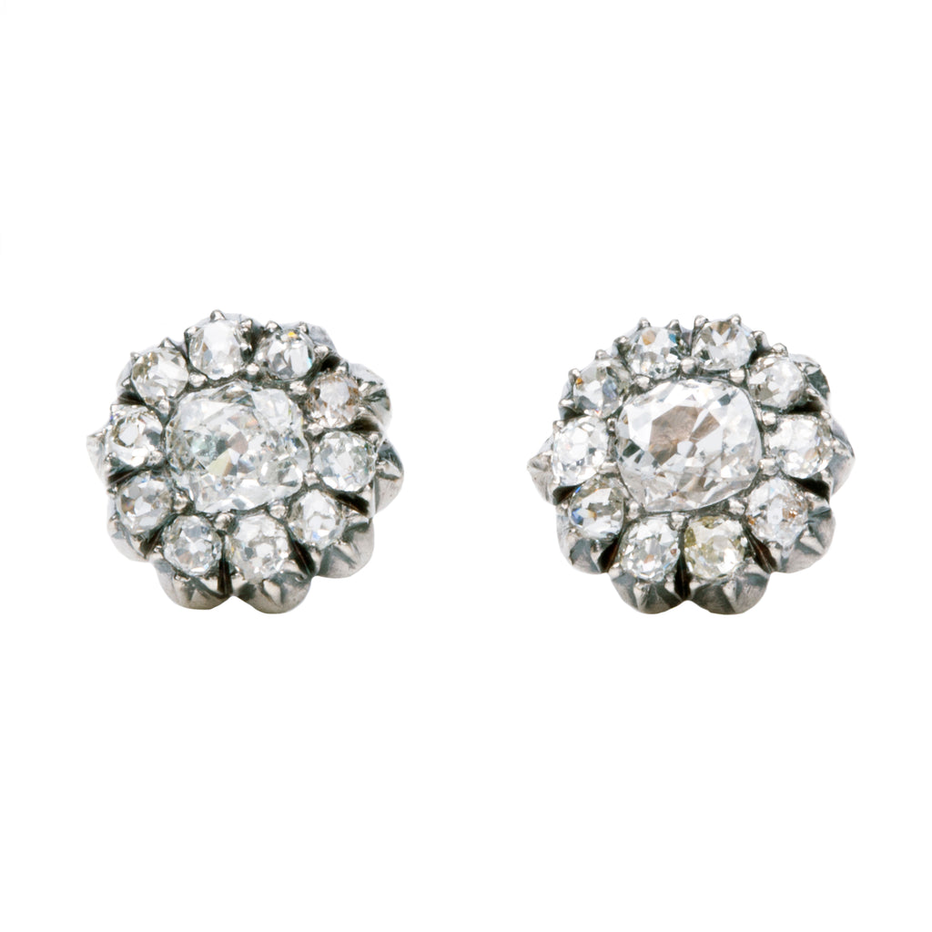 19th Century Diamond Cluster Earrings