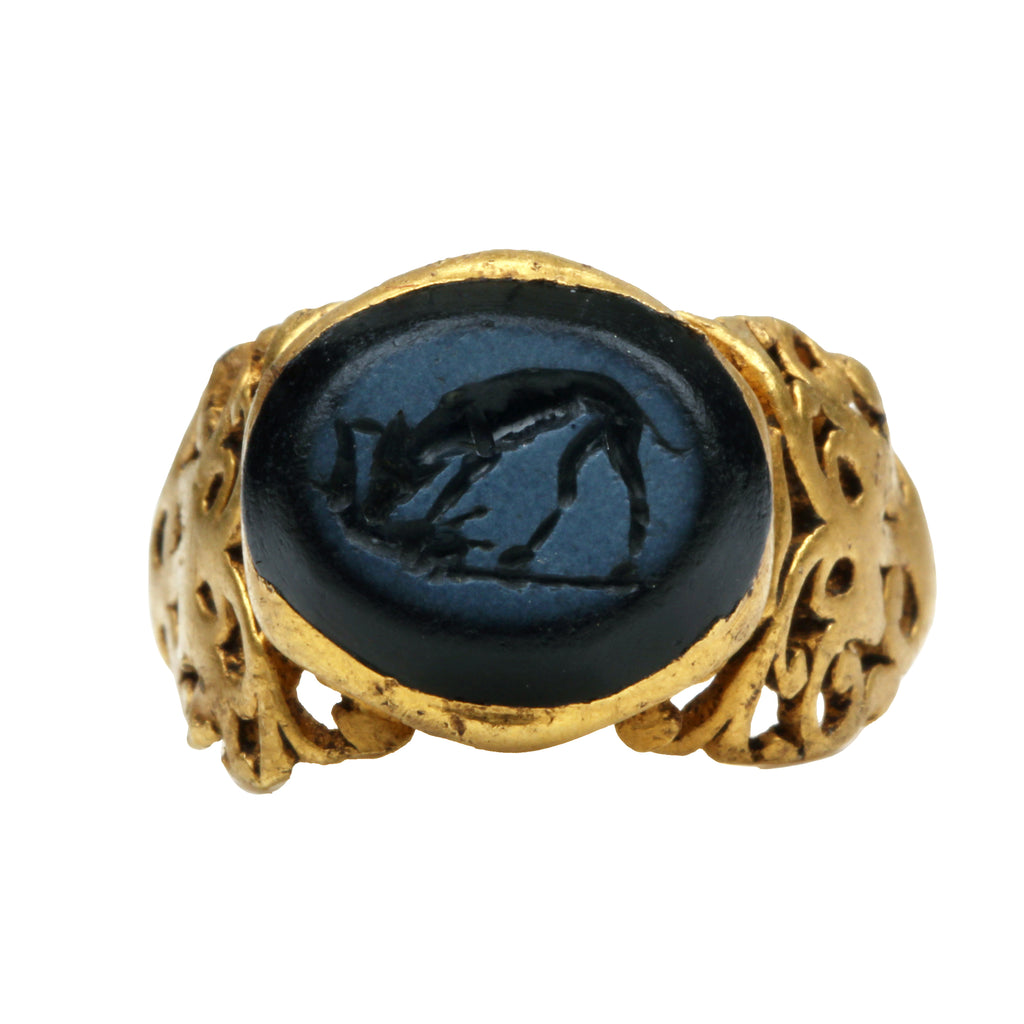 Ancient Carved Dog Intaglio Ring