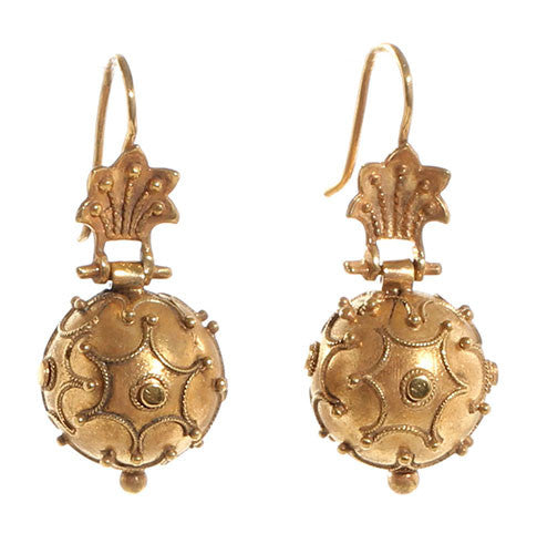 Victorian Gold Etruscan Revival Ball Earrings