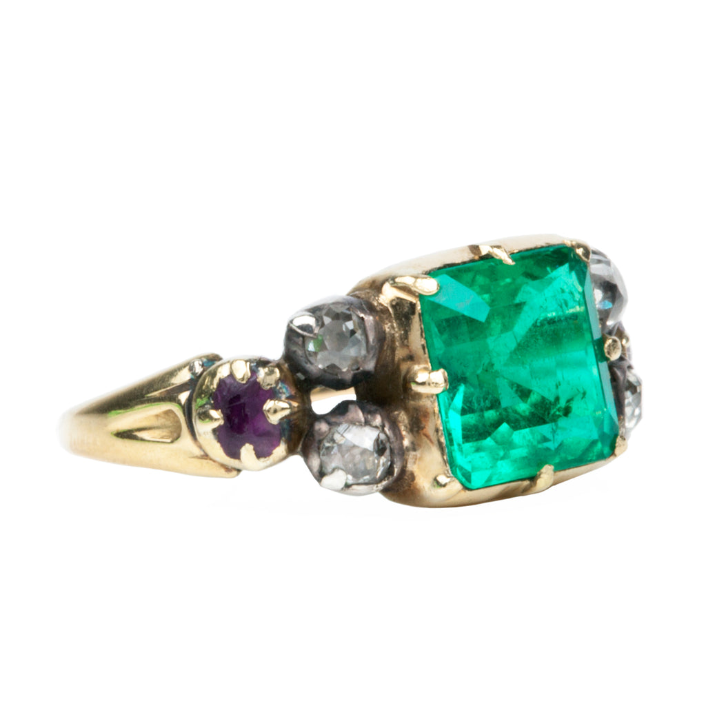 Early Victorian Era Emerald and Diamond Ring